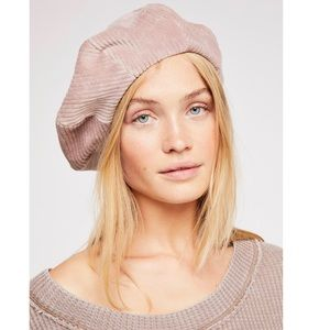 New Free People Mauve Pink Rialto Cord Beret